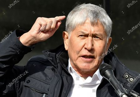 Former President Almazbek Atambayev speaks to his supporters during a rally in Bishkek, Kyrgyzstan, . Sooronbai Jeenbekov, the embattled president of Kyrgyzstan, has moved to end the political turmoil that followed a disputed parliamentary election, ordering a state of emergency in the capital. Jeenbekov has faced calls to resign by protesters who stormed government buildings after Sunday's parliamentary vote was reportedly swept by pro-government parties. Protesters freed former President Almazbek Atambayev, who was jailed on charges seen by his supporters as a political vendetta
