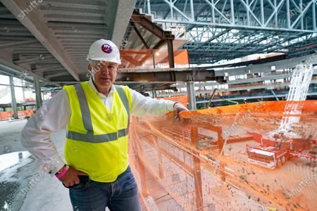 Oak View Group co-founder Tim Leiweke poses for a portrait, as construction continues on the New York Islanders new UBS arena in Elmont, N.Y. Oak View Group (OVG) is a global sports and entertainment company founded by Leiweke and Irving Azoff in 2015