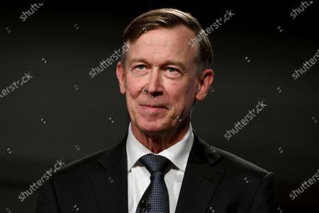 Democratic former Colorado Gov. John Hickenlooper appears during a debate with Republican U.S. Sen. Cory Gardner, in Denver