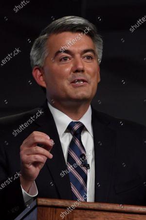 Republican U.S. Sen. Cory Gardner speaks during a debate with Democratic former Colorado Gov. John Hickenlooper, in Denver