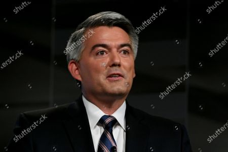 Stock Image of Republican U.S. Sen. Cory Gardner speaks during a debate with Democratic former Colorado Gov. John Hickenlooper in Denver. Gardner's re-election hinges on convincing the state's crucial slice of independent voters he's a nonpartisan problem-solver who will look out for the state