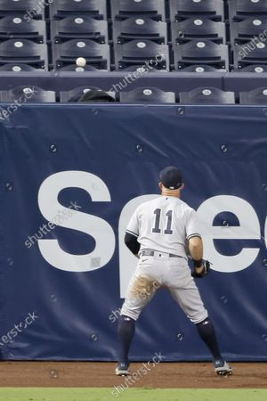 Stock Picture of New York Yankees left fielder Brett Gardner watches Tampa Bay Rays first baseman Michael Brosseau home run ball go over the left field fence off a pitch by New York Yankees relief pitcher Aroldis Chapman for the eventual game winner during the eighth inning of their American League Division Series playoff game five at Petco Park in San Diego, California, USA, 09 October 2020. The Rays defeated the Yankees 2-1 to advance to the American League Championship Series against the Houston Astros.
