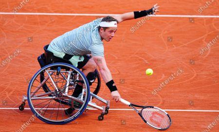 Stock Picture of Alfie Hewett of Great Britain in Men's Wheelchair Final action