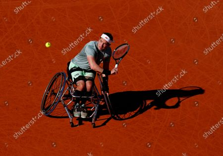 Alfie Hewett of Great Britain in Men's Wheelchair Final action
