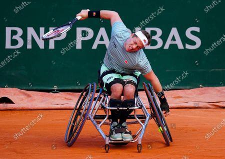 Alfie Hewett of Great Britain reacts during the Men's Wheelchair Final