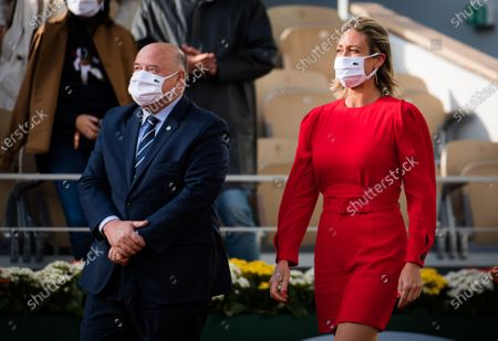 Mary Pierce during the trophy ceremony after the final of the 2020 Roland Garros Grand Slam tennis tournament