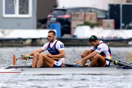 Jaime Canalejo Pazos and Javier Garcia Ordonez of Spain in action during the men's coxless pairs Heat race at the European Rowing Championships 2020 in Poznan, Poland, 10 October 2020.