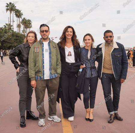 Stock Photo of (L-R) Celine Sallette, Jonathan Cohen, Doria Tillier, Camille Chamoux and Youssef Hagji