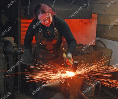 Editorial picture of Claire Robertson, Blacksmith, Forest of Dean, UK - 07 Nov 2012