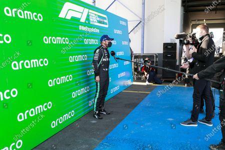 Pole Sitter Valtteri Bottas, Mercedes-AMG Petronas F1 in Parc Ferme talking with Paul di Resta, Sky, TV  during the 2020 Formula One Eifel Grand Prix