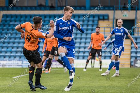 Cameron Brannagan, Midfielder with Oxford United FC (8) & Jack Tucker, Defender with Gillingham (5) during the EFL Sky Bet League 1 match between Gillingham and Oxford United at the MEMS Priestfield Stadium, Gillingham
