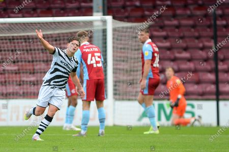 GOAL (4-1) Forest Green Rovers Matt Stevens(9) celebrates his goal during the EFL Sky Bet League 2 match between Scunthorpe United and Forest Green Rovers at Glanford Park, Scunthorpe