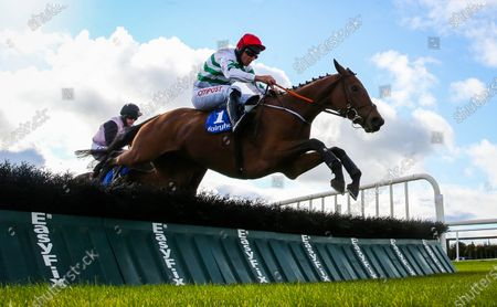 Stock Image of The Irish Stallion Farms EBF Maiden Hurdle. Davy Russell onboard Queens Brook clears the last on his way to winning