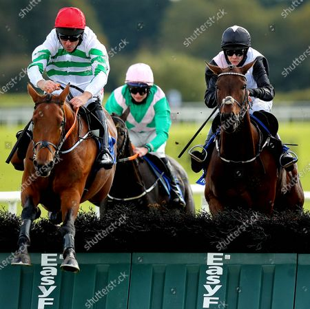 The Irish Stallion Farms EBF Maiden Hurdle. Davy Russell onboard Queens Brook clears the last on his way to winning