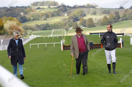 Nicky Henderson with wife Sophie and jockey Nico De Boinville walking the track at Chepstow before withdrawing the majority of his runners on the card.