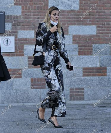 Stock Image of Cristina Chiabotto street style outfit after Alberta Ferretti Fashion Show at Milan Fashion Week Fall/Winter 2020/2021 collections.