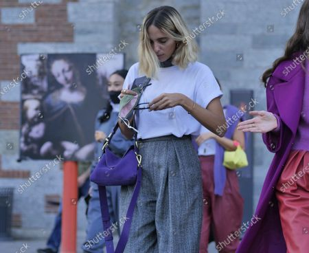 Fashion bloggers and Candela Pelizza  street style outfits after Alberta Ferretti Fashion Show at Milan Fashion Week Fall/Winter 2020/2021 collections.