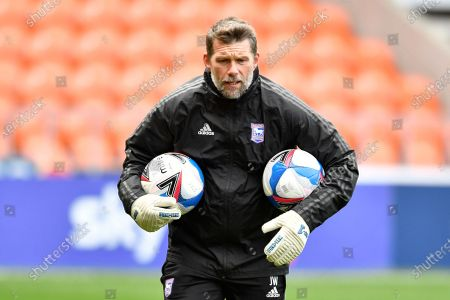 Jimmy Walker goalkeeping coach of Ipswich Town leads the warm up