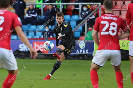Wigan Athletic defender Tom James (27) shoots at goal during the EFL Sky Bet League 1 match between Crewe Alexandra and Wigan Athletic at Alexandra Stadium, Crewe