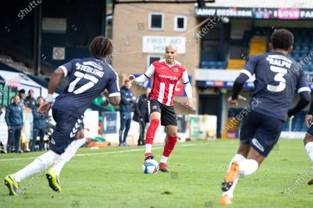 Jake Caprice of Exeter City in action during Southend United vs Exeter City, Sky Bet EFL League 2 Football at Roots Hall on 10th October 2020