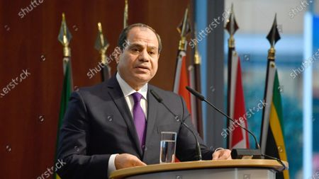 """Egypt's President Abdel Fattah al-Sisi speaks at the """"G20 Investment Summit - German Business and the CwA Countries 2019"""" on the sidelines of a Compact with Africa (CwA) in Berlin. Egypt's state-run news agency says that Egyptian President Abdel-Fattah el-Sissi has ratified a maritime deal setting the country's Mediterranean Sea boundary with Greece and demarcating an exclusive economic zone for oil and gas drilling rights, in a move that has angered Turkey"""