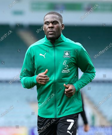 Frank Nouble (7) of Plymouth Argyle warming up ahead of the EFL Sky Bet League 1 match between Plymouth Argyle and Burton Albion at Home Park, Plymouth