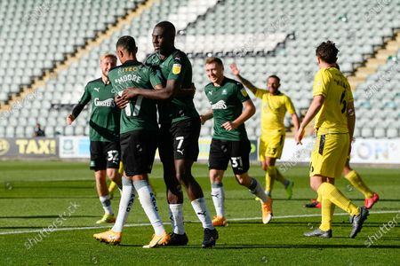 Goal 2-0 - Byron Moore (17) of Plymouth Argyle celebrates scoring with Frank Nouble (7) of Plymouth Argyle congratulating him during the EFL Sky Bet League 1 match between Plymouth Argyle and Burton Albion at Home Park, Plymouth