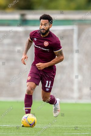 Jordan Roberts (#11) of Heart of Midlothian FC bursts forward with the ball during the Betfred Scottish League Cup match between Cowdenbeath FC and Heart of Midlothian FC at Bayview Stadium, Methil
