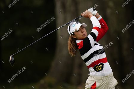 Stock Image of Jenny Shin, of South Korea, watches her tee shot on the 13th hole during the third round at the KPMG Women's PGA Championship golf tournament at the Aronimink Golf Club, in Newtown Square, Pa