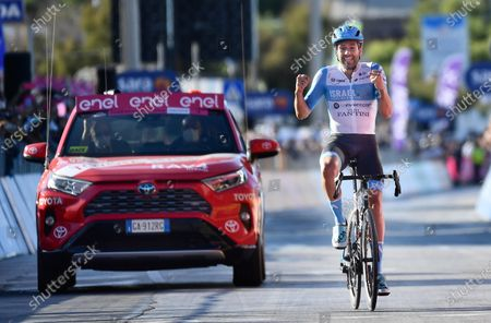 British rider Alex Dowsett of team Israel Start-Up Team wins the 8th stage of the 2020 Giro d'Italia cycling race over 200km from Giovinazzo to Vieste (Gargano), Italy, 10 October 2020.