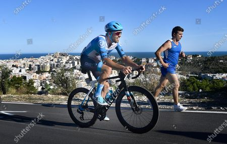 British rider Alex Dowsett of team Israel Start-Up Team on his way to win the 8th stage of the 2020 Giro d'Italia cycling race over 200km from Giovinazzo to Vieste (Gargano), Italy, 10 October 2020.