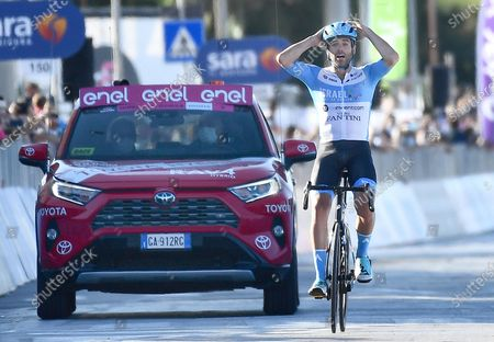 Stock Photo of British rider Alex Dowsett of team Israel Start-Up Team wins the 8th stage of the 2020 Giro d'Italia cycling race over 200km from Giovinazzo to Vieste (Gargano), Italy, 10 October 2020.