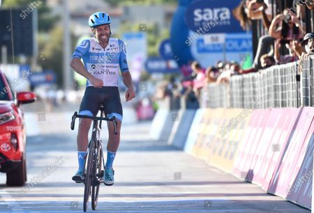 Stock Image of British rider Alex Dowsett of team Israel Start-Up Team wins the 8th stage of the 2020 Giro d'Italia cycling race over 200km from Giovinazzo to Vieste (Gargano), Italy, 10 October 2020.