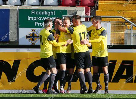 Stock Photo of Cliftonville vs Knockbreda. Knockbreda's Stephen Garrett celebrates after scoring a goal