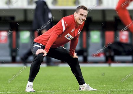 Stock Photo of Polish national soccer team forward Arkadiusz Milik in action during a training session in Gdansk, Poland, 10 October 2020. Poland will face Italy in their UEFA Nations League group stage, league A, group 1 soccer match in Gdansk, Poland on 11 October 2020.