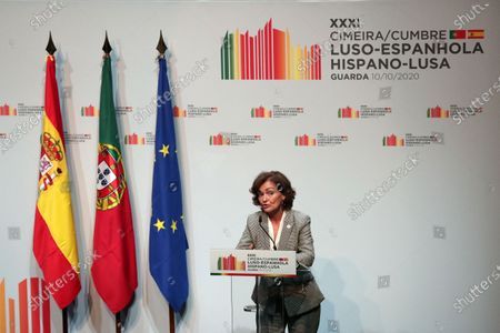 Stock Photo of Carmen Calvo Poyato, First Vice-President of the Government and Minister for the Presidency, Parliamentary Relations and Democratic Memory, speaks during the 31st Portuguese Spanish Summit in Guarda, Portugal, 10 October 2020. Spanish Prime Minister Pedro Sanchez  is on a one day official visit to Guarda for the 31st Spanish-Portuguese Summit.