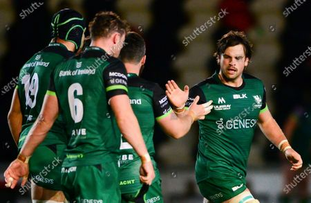 Cardiff Blues vs Connacht. Connacht's Sam Arnold and John Oliver celebrate scoring a try