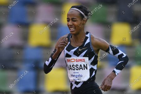 Dutch Sifan Hassan in action during her 10,000 meters race at the FBK Late Summer race in Hengelo, The Netherlands, 10 October 2020. The athlete broke the European record in the 10,000 meters, with 29.36.67 minutes she dipped well below the European top time of Paula Radcliffe from UK.