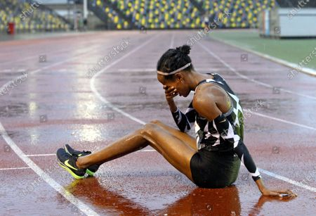 Dutch Sifan Hassan reacts after her 10,000 meters race at the FBK Late Summer race in Hengelo, The Netherlands, 10 October 2020 (issued 11 October 2020). The athlete broke the European record in the 10,000 meters, with 29.36.67 minutes she dipped well below the European top time of Paula Radcliffe from UK.