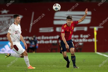Spain's Gerard Moreno in action against Switzerland's Fabian Schar (L) during the UEFA Nations League group stage, group 4 soccer match, between Spain and Switzerland at Alfredo di Stefano stadium in Madrid, Spain, 10 October 2020.