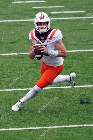 Virginia Tech quarterback Braxton Burmeister (3) looks to pass against North Carolina during the first half of an NCAA college football game in Chapel Hill, N.C