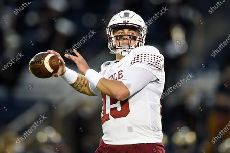Temple quarterback Anthony Russo looks for a receiver during an NCAA college football game against Navy, in Annapolis, Md