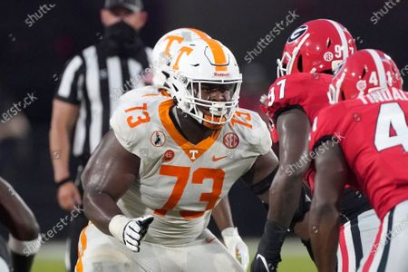 Tennessee offensive lineman Trey Smith (73) blocks against Georgia in the second half of an NCAA college football game, in Athens, Ga