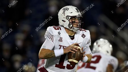 Temple's Anthony Russo looks to pass during an NCAA football game, in Annapolis, Md