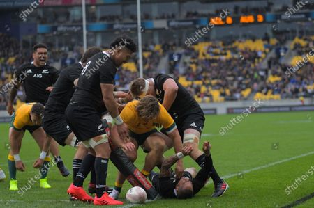 Aaron Smith scores during the Bledisloe Cup rugby union match between the New Zealand All Blacks and Australia Wallabies at Sky Stadium in Wellington, New Zealand on Sunday, 11 October 2020.