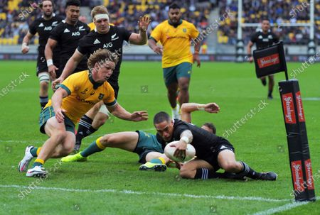 Aaron Smith scores during the Bledisloe Cup rugby union match between the New Zealand All Blacks and Australia Wallabies at Sky Stadium in Wellington, New Zealand