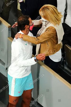Stock Photo of Rafael Nadal is congratulated by his mother, Ana María Parera, after victory in the Men's Singles final