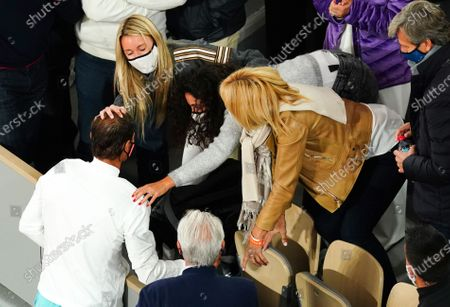 Rafael Nadal is congratulated by his wife, Maria Francisca Perello, and mother, Ana María Parera, after victory in the Men's Singles final