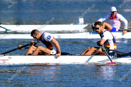 Stock Image of Jaime Canalejo Pazos and Javier Garcia Ordonez of Spain in action during the men's coxless pairs Final A at the European Rowing Championshps 2020 in Poznan, Poland, 11 October 2020.