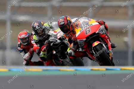 German rider Stefan Bradl of the Repsol Honda Team steers his motorcycle during the MotoGP race of the French Motorcycle Grand Prix at the Le Mans racetrack, in Le Mans, France